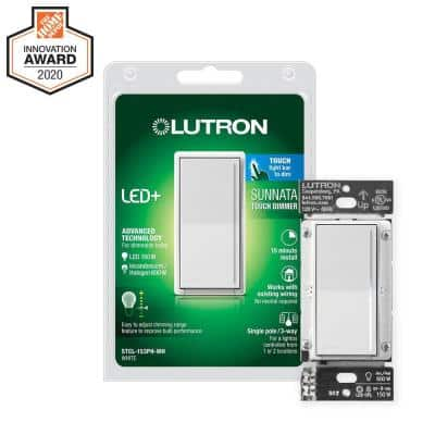 Sunnata Touch Dimmer Switch with LED+ Advanced Technology, for LED, Incandescent and Halogen, Single Pole, White