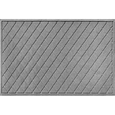 Aqua Shield Argyle Medium Gray 45 in. x 70 in. Recycled Polyester/Rubber Indoor Outdoor Estate Mat