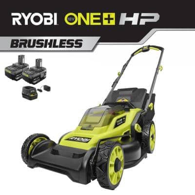 16 in. ONE+ HP 18V Lithium-Ion Cordless Battery Walk Behind Push Lawn Mower - (2) 4.0 Ah Batteries and Charger Included