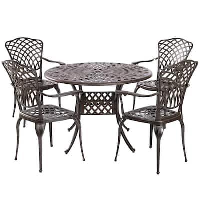 Arden Bronze 5-Piece Cast Aluminum Outdoor Patio Dining Table Set with a Lattice Weave Design