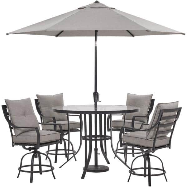 Hanover Lavallette 5-Piece Steel Outdoor Dining Set with Silver