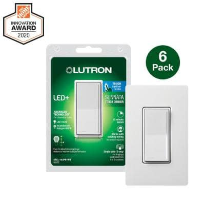 Sunnata LED+ Dimmer Switch with Wallplate, for LED Incandescent/Halogen Bulbs, 150W Single Pole Only, White (6-Pack)
