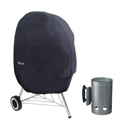 Classic 30 in. Dia x 43 in. H BBQ Kettle Grill Cover in Black