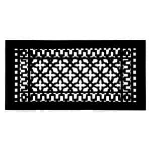 Scroll 20 in. x 9 in. Cast Iron Grille without Mounting Holes, Black