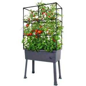 Patio Ideas - 15.75 in. x 31.5 in. x 63 in. Self-Watering Raised Garden Bed with Trellis and Greenhouse Cover