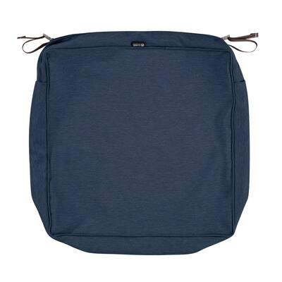 Montlake FadeSafe 21 in. W x 21 in. D x 5 in. H Square Patio Lounge Seat Cushion Slip Cover in Heather Indigo Blue