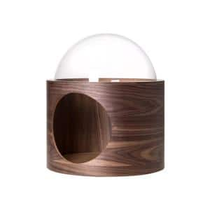 MYZOO Small Spaceship Gamma Wall Mounted Walnut Cat Bed Open on the Left