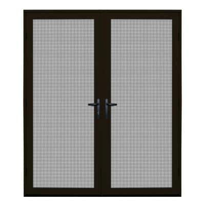 64 in. x 80 in. Bronze Surface Mount Ultimate Security Screen Door with Meshtec Screen