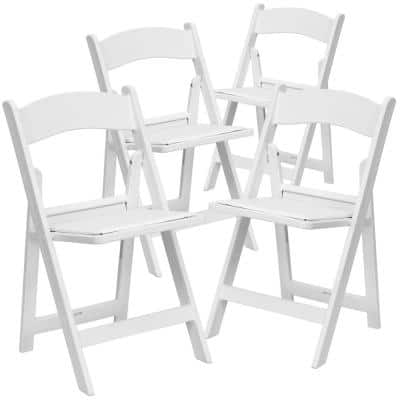 White Resin Folding Chair (Set of 4)