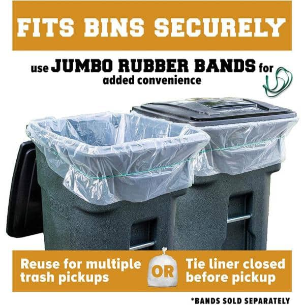 25 Count w//Ties Large Clear Plastic Garbage Bags 61W x 68H. 95-96 Gallon Clear Trash Bags,