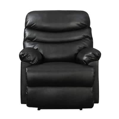 Decklan 34 in. Width Big and Tall Black Faux Leather Power Reclining Recliner