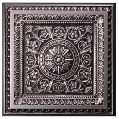 Marseille 2 ft. x 2 ft. Lay-in or Glue-up Ceiling Tile in Antique Silver (48 sq. ft. / case)