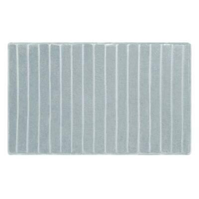 Charcoal Fused Reversible Shag Smoke Blue Memory Foam 21 in. x 34 in. Bath Mat