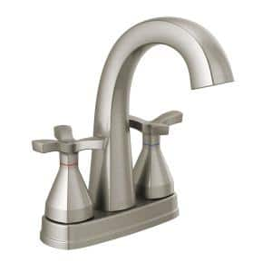 Stryke 4 in. Centerset 2-Handle Bathroom Faucet with Metal Drain Assembly in Stainless