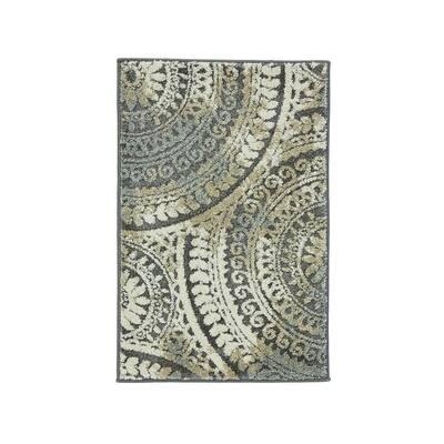 Spiral Medallion Gray 2 ft. x 3 ft. Scatter Rug