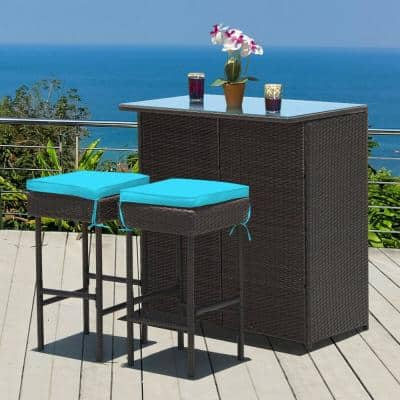 3-Pieces Rattan Wicker Patio Bar Table Stools Dining Set with Turquoise Cushions
