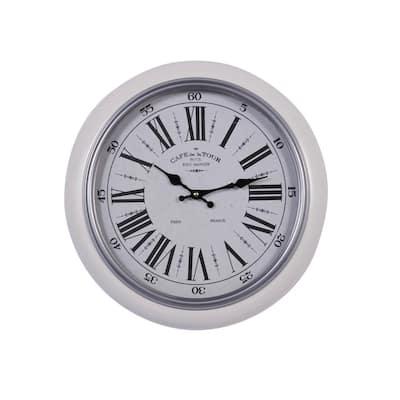 White Metal Wall Clocks Clocks The Home Depot