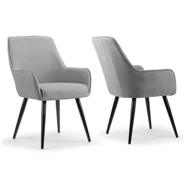 Glamour Home Amir Grey Dining Chair, Grey Fabric Dining Chairs With Arms