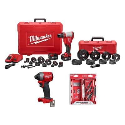 M18 18-Volt Lithium-Ion Force Logic Cordless 1/2 in. - 4 in. Knockout Tool Kit /W Bonus Impact Driver and Step Bits