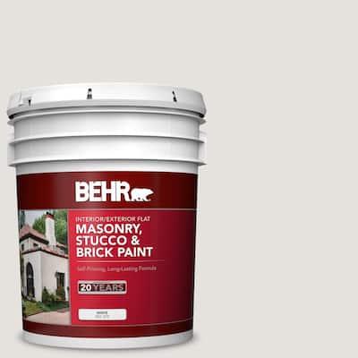 5 gal. #PPU18-08 Painters White Flat Interior/Exterior Masonry, Stucco and Brick Paint
