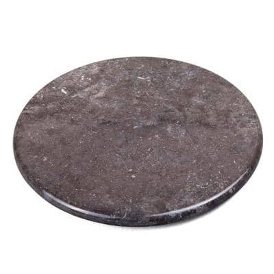 Natural Charcoal Marble 12 in. Dia Round Trivet Cheese Serving Board for Kitchen Dining Table