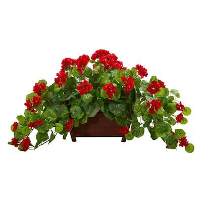 Indoor Geranium Artificial Plant in Decorative Planter