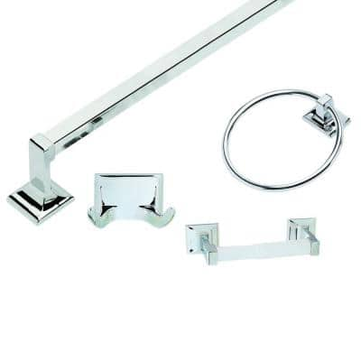 Millbridge 4-Piece Bathroom Hardware Kit in Polished Chrome