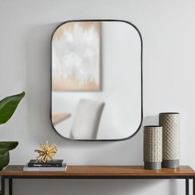 Medium Rectangle Black Modern Mirror with Deep-Set Frame and Rounded Corners (32 in. H x 24 in. W)