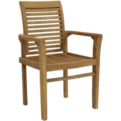 Teak Outdoor Patio Dining Armchair - Traditional Slat Style (1 Chair)