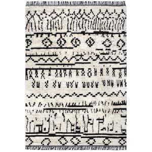 Tessa Tribal Soft Shag Fringe Beige 5 ft. 3 in. x 7 ft. 6 in. Indoor Area Rug