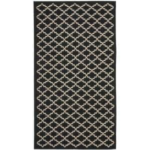 Courtyard Black/Beige 3 ft. x 5 ft. Indoor/Outdoor Area Rug