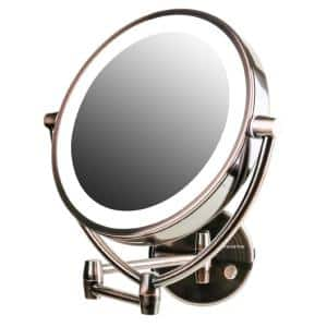 3.4 in. W x 13.4 in. H Framed Round Bathroom Vanity Mirror in Antiques Brass