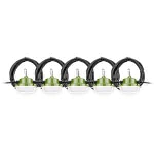 50 ft. 5,000 Lumen 40W Integrated Weatherproof 5-Head Linkable Jobsite String LED Work Light with Metal cage and Hook