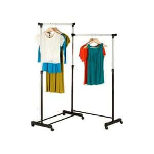 Chrome/Black Steel Rotatable Clothes Rack 64.96 in. W x 63.58 in. H