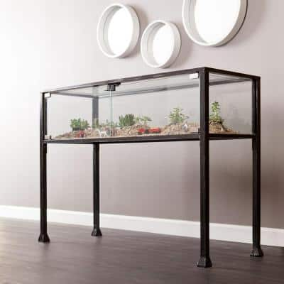 43 in. Black Standard Rectangle Glass Console Table with Storage