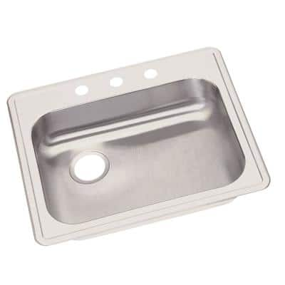 Dayton Drop-In Stainless Steel 25 in. 3-Hole Single Bowl Kitchen Sink with Left Drain