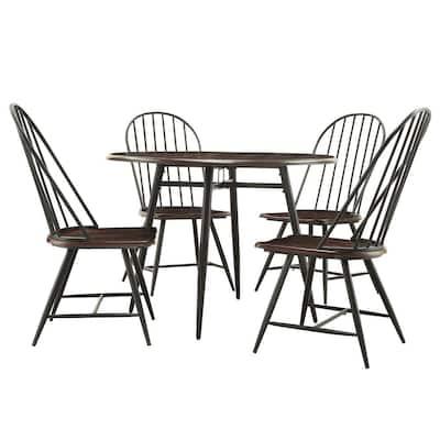 New Haven 5-Piece Dark Oak and Black Dining Set