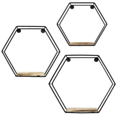 Hexagonal 5 in. x 10 in. x 10 in. Brown Laminate Decorative Wall Shelf with Black Brackets (Set of 3)