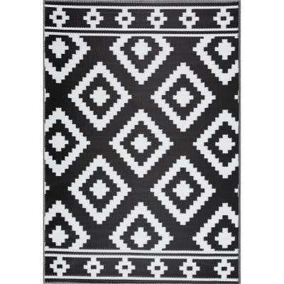 Milan Black and White 8 ft. x 10 ft. Reversible Indoor/Outdoor Recycled,Plastic,Weather,Water,Stain,Fade & UV Resistant