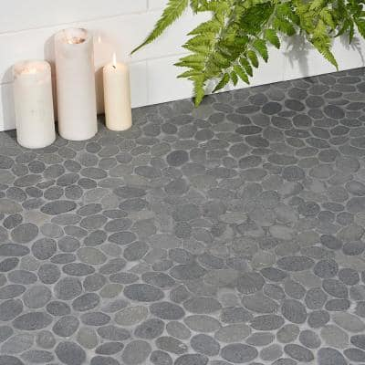 Countryside Sliced Flat Oval 11.81 in. x 11.81 in. Black Lava Floor and Wall Mosaic (0.97 sq. ft. / sheet)