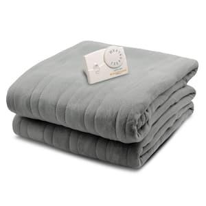 2030 Series Micro Plush Heated 62 in. x 84 in. Gray Twin Size Blanket