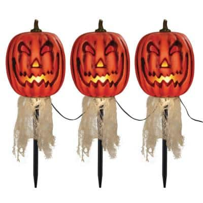 16 in. Animated LED Pumpkin Halloween Pathway Markers with Timer (3-Pack)