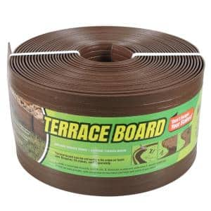 Terrace Board 5 in. x 40 ft. Brown Landscape Lawn Edging with Stakes