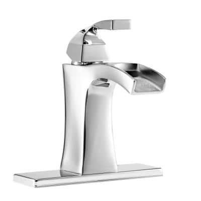 Leary Curve Single Hole Single-Handle Bathroom Faucet in Chrome
