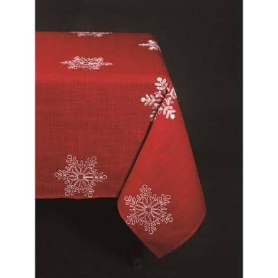 70 in. x 144 in. Snowy Noel Embroidered Snowflake Christmas Tablecloth in Red and White