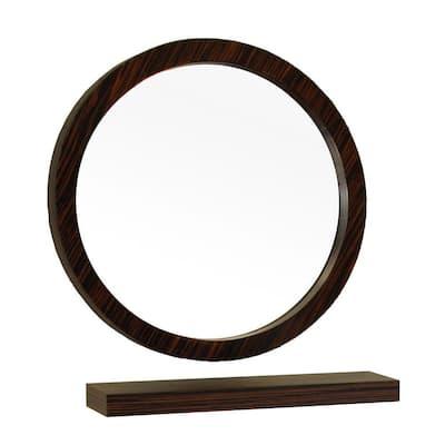 Indianola 22 in. W x 22 in. H Framed Circle Bathroom Vanity Mirror in brown