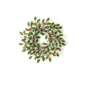 16 in. Artificial Variegated Holly Mini Wreath