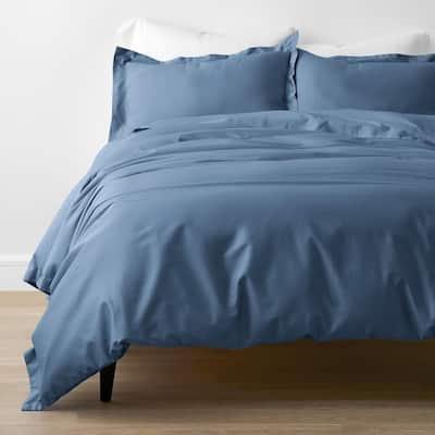 Company Cotton Bamboo Blue Horizon Queen Sateen Duvet Cover