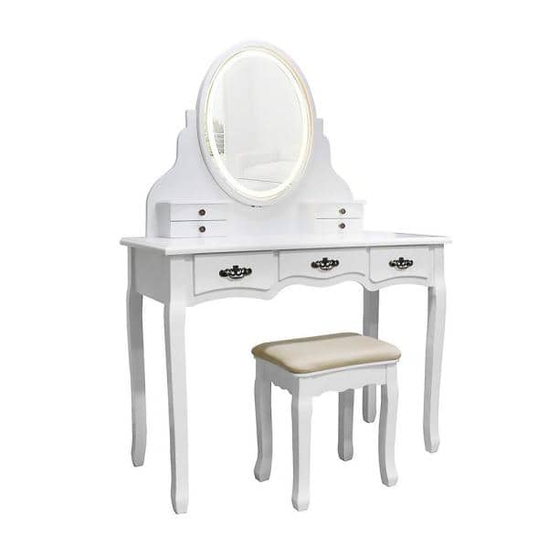 Veikous White Wooden Bedroom Vanity, Home Depot Makeup Vanity Mirror With Lights