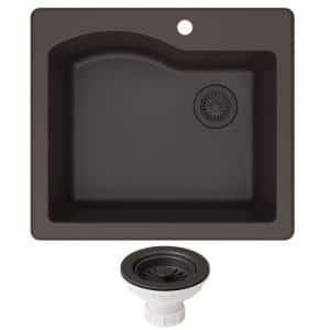 Quarza Brown Granite Composite 25 in. Single Bowl Undermount/Drop-In Kitchen Sink and Strainer